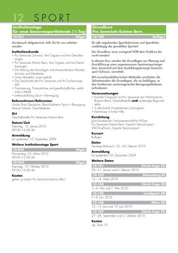 Kantonales Kursprogramm 2010 1 - Pro Senectute Kanton Bern ...