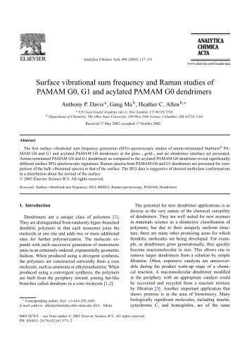 Surface vibrational sum frequency and Raman studies of PAMAM ...