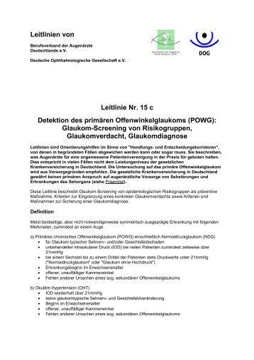 Leitlinien von BVA und DOG - Berufsverband der Augenärzte