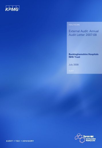 7. Annual audit letter 2007-08 - Become an NHS Foundation Trust ...