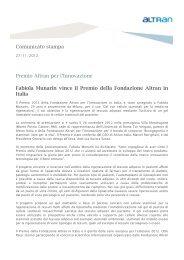 Comunicato stampa Premio Altran per l'Innovazione Fabiola ...