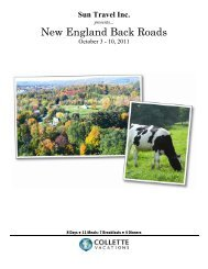New England Back Roads - Sun Travel Cruises and Tours