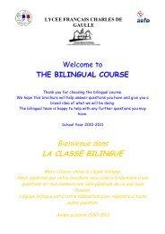 Bienvenue dans LA CLASSE BILINGUE - Lycée français Charles de ...