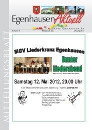 Samstag 12. Mai 2012, 20.00 Uhr - Egenhausen