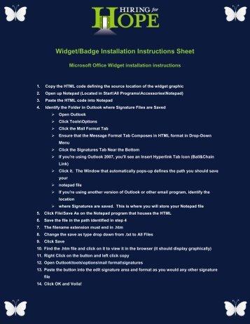 Widget/Badge Installation Instructions Sheet - Hiring for Hope