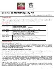 Seminar on Mental Capacity Act - Law Society of Singapore