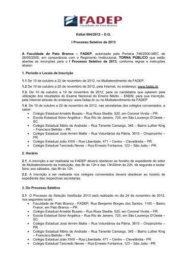 Edital Vestibular 2013 - Fadep
