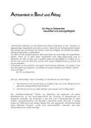 Achtsamkeit in Beruf und Alltag - Praxis-Info.ch