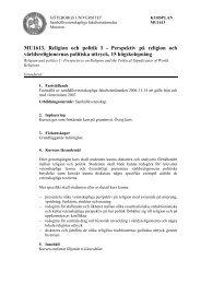 XXX111, Religion och politik I - Perspektiv på religion och ...