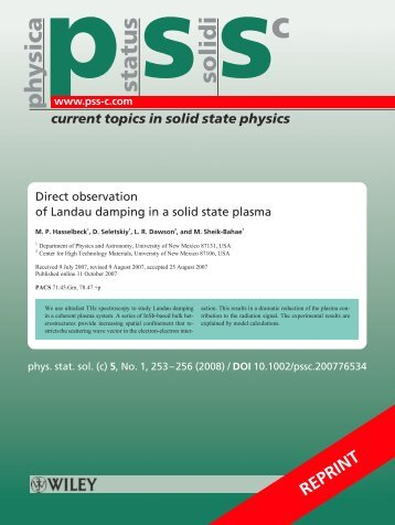 status solidi physica - Physics and Astronomy - University of New ...
