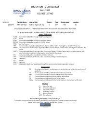 education to go courses fall 2012 course listing - Iowa Lakes ...
