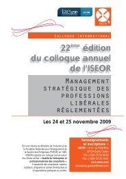 22ème édition du colloque annuel de l'ISEOR - Consulting News Line