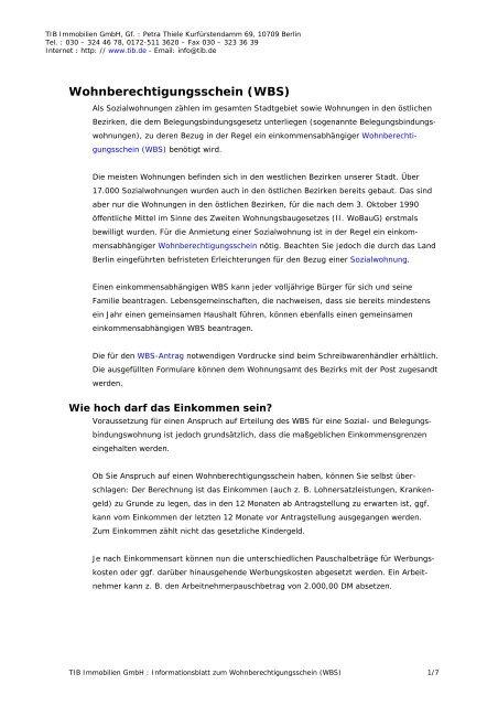 Infoblatt Wohnberechtigungsschein Wbs