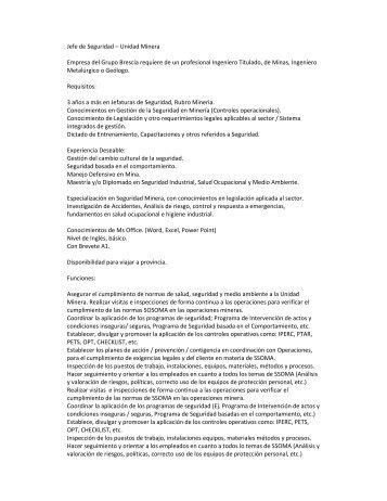 Jefe de Seguridad – Unidad Minera Empresa del Grupo Brescia ...