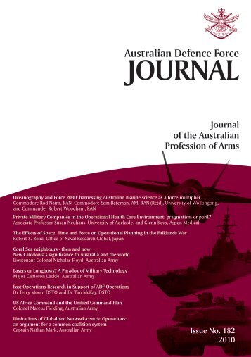 ISSUE 182 : Jul/Aug - 2010 - Australian Defence Force Journal