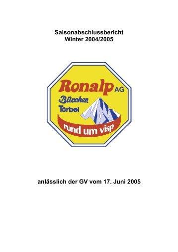 Saisonabschlussbericht Winter 2004/2005 anlässlich der GV vom ...