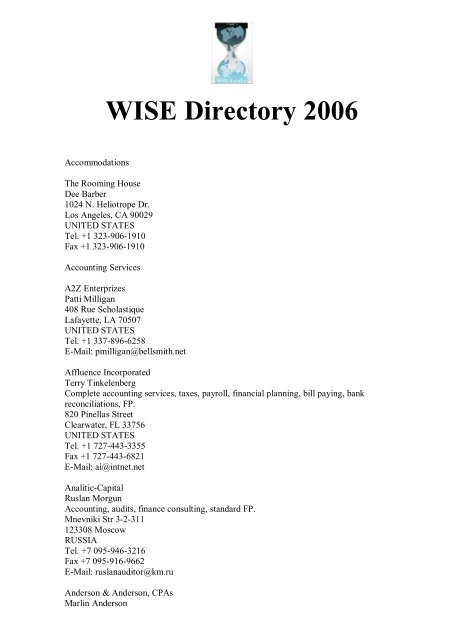 Wise 2006 Directory