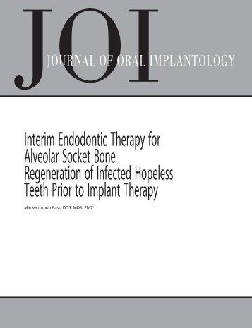 Interim Endodontic Therapy for Alveolar Socket Bone Regeneration ...