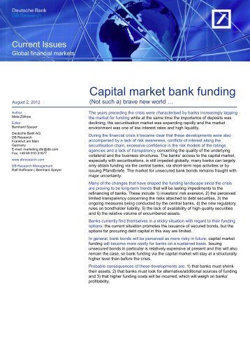 Capital market bank funding - DWS Investments