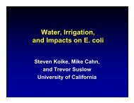 Water Irrigation Water, Irrigation, and Impacts on E. coli