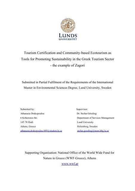 "Thesis Title: ""The Development Of Community-based Ecotourism - Lumes"