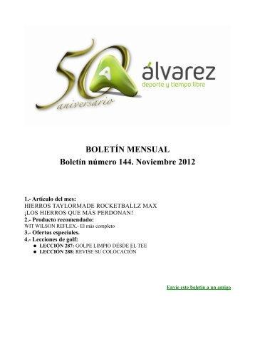 BOLETÍN MENSUAL Boletín número 144. Noviembre 2012 - A-Alvarez