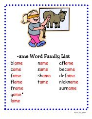-ame Word Family List