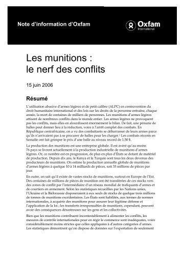 Les munitions : Le nerf des conflits - Oxfam-Québec