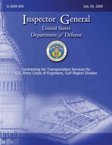 Contracting for Transportation Services for U.S. Army Corps of ...