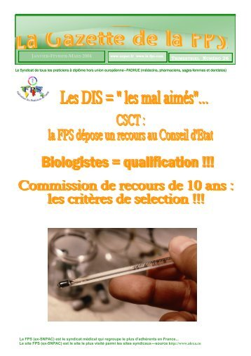 La Gazette de la FPS / Janvier-Février-Mars 2004 / N° 26 Page 1