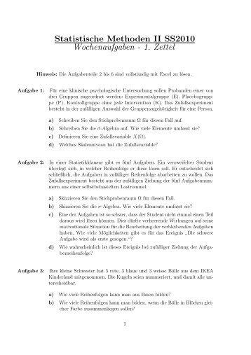 Statistische Methoden II SS2010 Wochenaufgaben - 1. Zettel