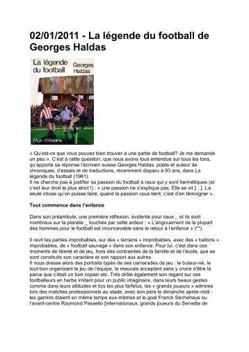 La légende du football de Georges Haldas - Super Servette
