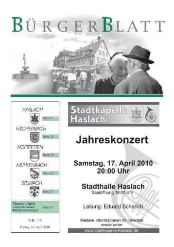 Sonntag, den 18. April, um 15.00 Uhr - Haslach