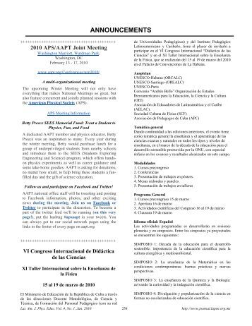 announcements [pdf] - Latin-American Journal of Physics Education