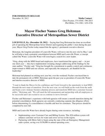 Mayor Fischer Names Greg Heitzman Executive Director of - Greater ...