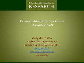 Research Administrators Forum December 2008 - Office of the Vice ...