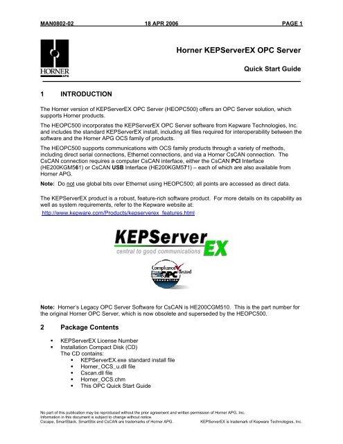 Horner KEPServerEX OPC Server - Logic, Inc