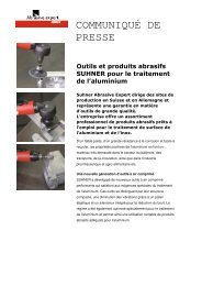 Outils et produits abrasifs SUHNER pour le traitement de l'aluminium