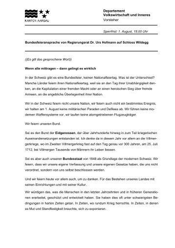 Departement Volkswirtschaft und Inneres Vorsteher - Gemeinde ...