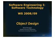 Object Design Activities - Chair for Applied Software Engineering