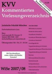 Die neuen Hauptkurse 2007/II beginnen - Fachschaft Jura - Ludwig ...