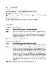 "Fachforum ""Output-Management"""