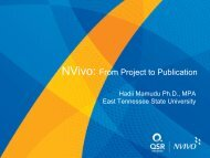 NVivo: From Project to Publication - QSR International
