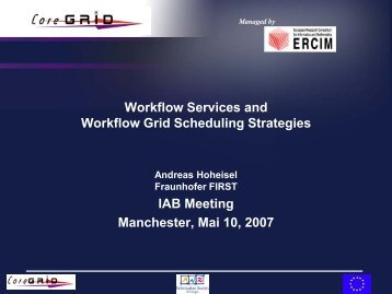Workflow Services and Workflow Grid Scheduling Strategies IAB ...