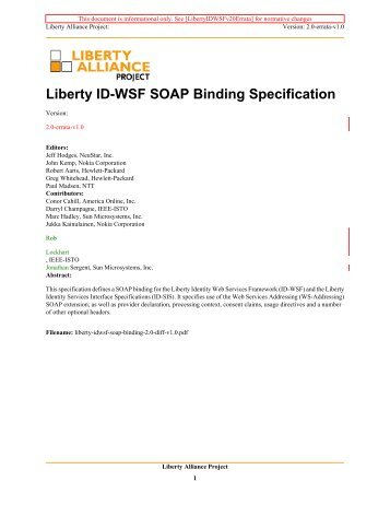 Liberty ID-WSF SOAP Binding Specification - Liberty Alliance