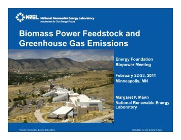 Biomass Power Feedstock and Greenhouse Gas Emissions ...