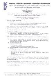 konkurs na stanowisko pracownik naukowy - Instytut Filozofii i ...