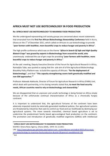 Africa Must Not Use - Environmental Rights Action