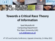 Towards a Critical Race Theory of Information - The ICTs and ...