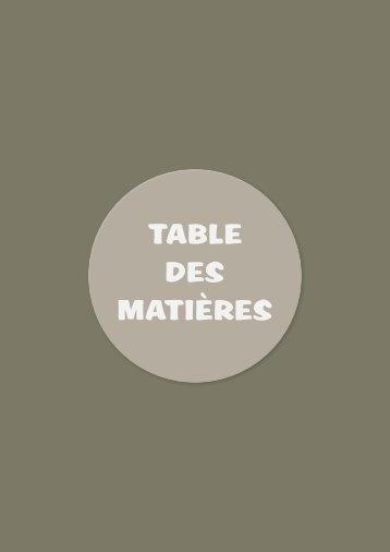 taBle des Matières - Plantyn